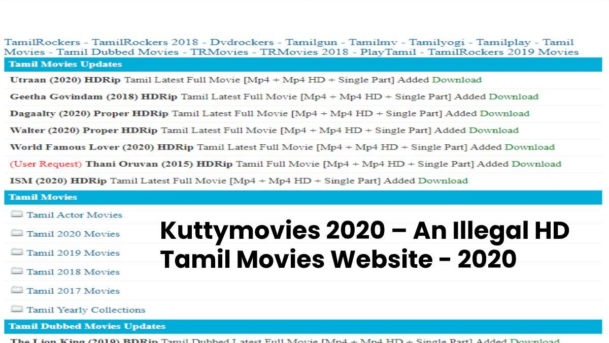Kuttymovies 2020: Download Tamil Movies in HD Video Quality Kuttymovies Collection